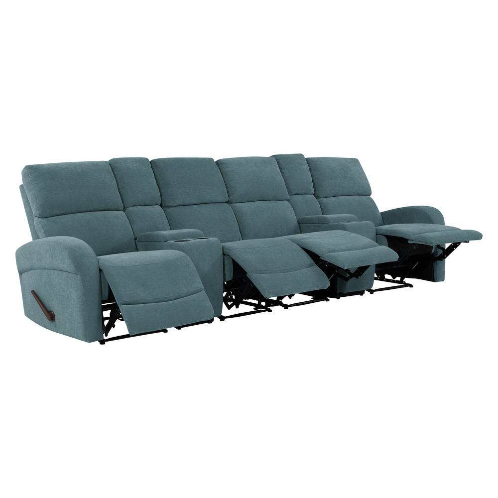 ProLounger Caribbean Blue Chenille 4 Seat Recliner Sofa With 2 Storage  Consoles And USB