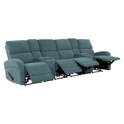 Caribbean Blue Chenille 4-Seat Recliner Sofa with 2-Storage Consoles and USB Ports