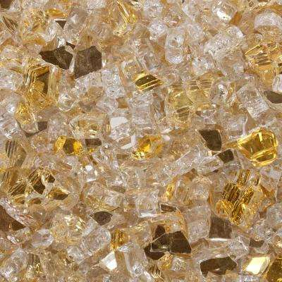 1/4 in. 10 lbs. Sunstorm Gold Reflective Tempered Fire Glass in Jar