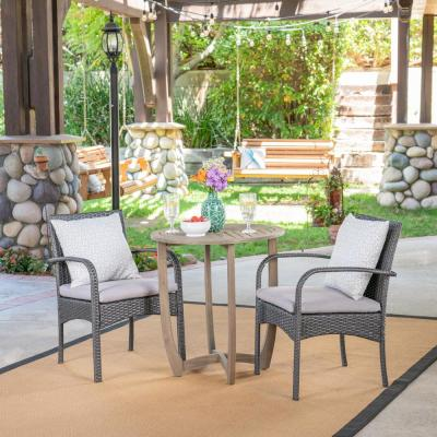 Noble House Lindy Gray 3-pc Wood and Wicker Outdoor Bistro Set w/ Gray Cushions