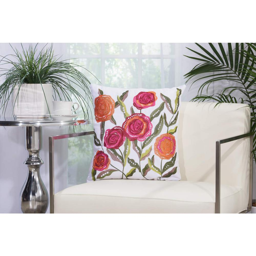 Mina Victory Embroidered Flowers 18 In X 18 In White Indoor And