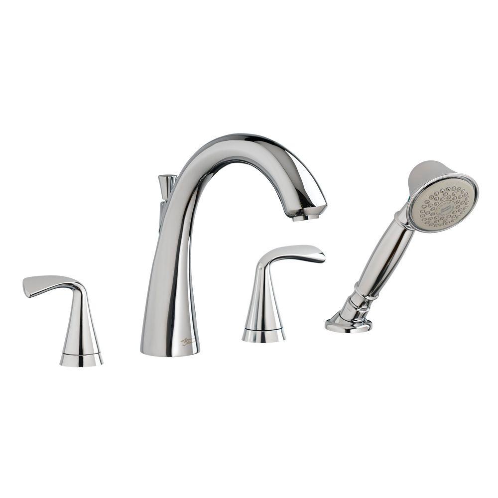 Fluent 2-Handle Deck-Mount Roman Tub Faucet with Personal Shower in Polished