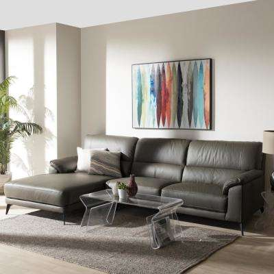 Radford 2-Piece Dark Grey Leather Sleep Sectional