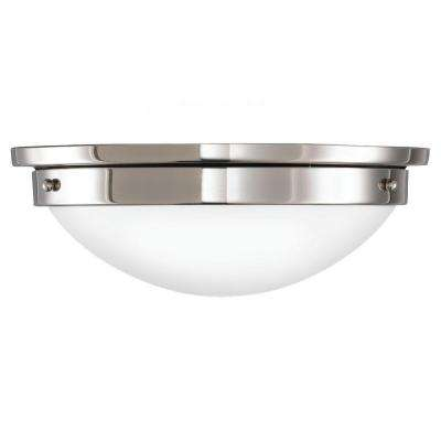 Gravity 12.5 in. W 2-Light Polished Nickel Flushmount with White Opal Etched Glass