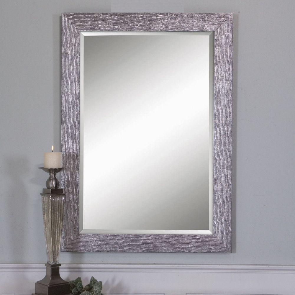 Silver metallic mirrors wall decor the home depot silver finished rectangle framed mirror amipublicfo Gallery