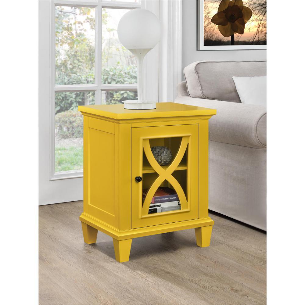 altra furniture ellington 1 door yellow accent cabinet