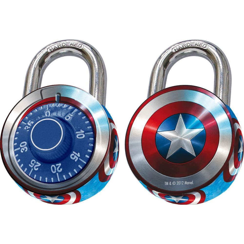 Rish 2 in.Captain America Design Painted Combination Padlock-DISCONTINUED
