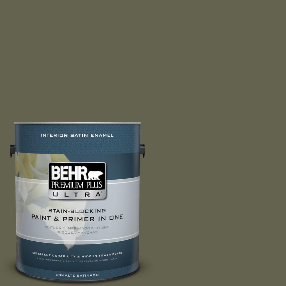 1-gal. #N350-7 Russian Olive Satin Enamel Interior Paint