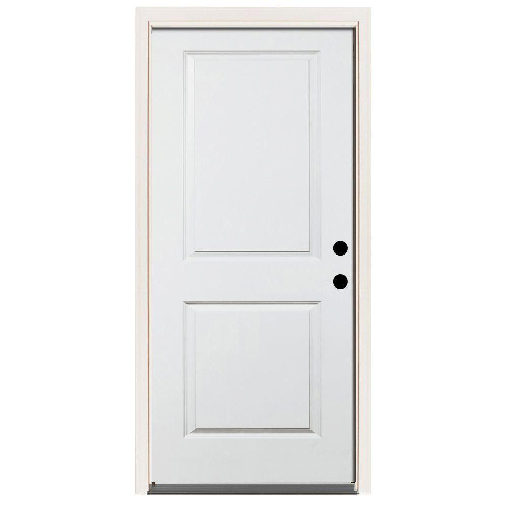 Steves & Sons 36 in. x 80 in. Premium White Left-Hand Inswing 2-Panel Square Primed Steel Prehung Front Door with 4 in. Wall