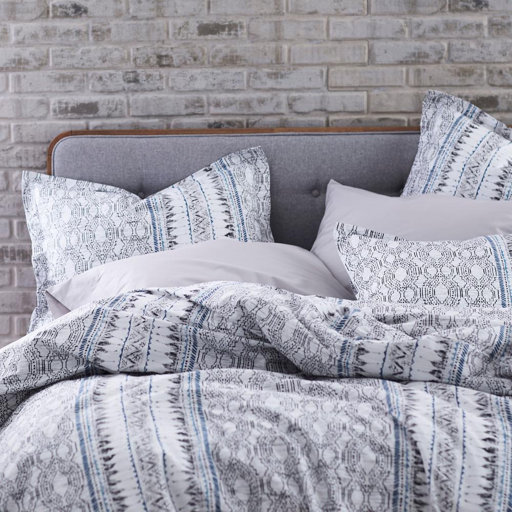 Gatework Geometric Organic Cotton Percale Duvet Cover Set