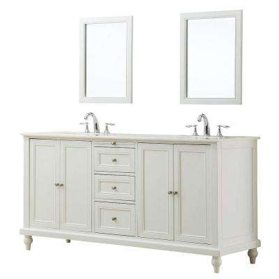 Classic 70 in. Double Vanity in Pearl White with Regular Marble Vanity Top in White and Mirrors
