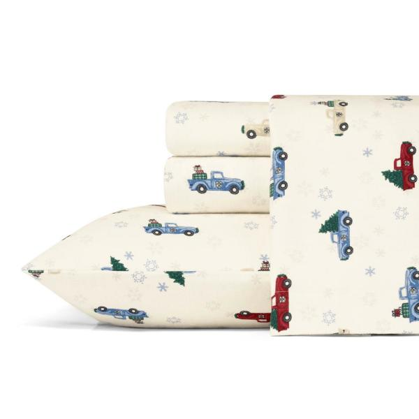 4-Piece Winter Outing Graphic Flannel Queen Sheet Set