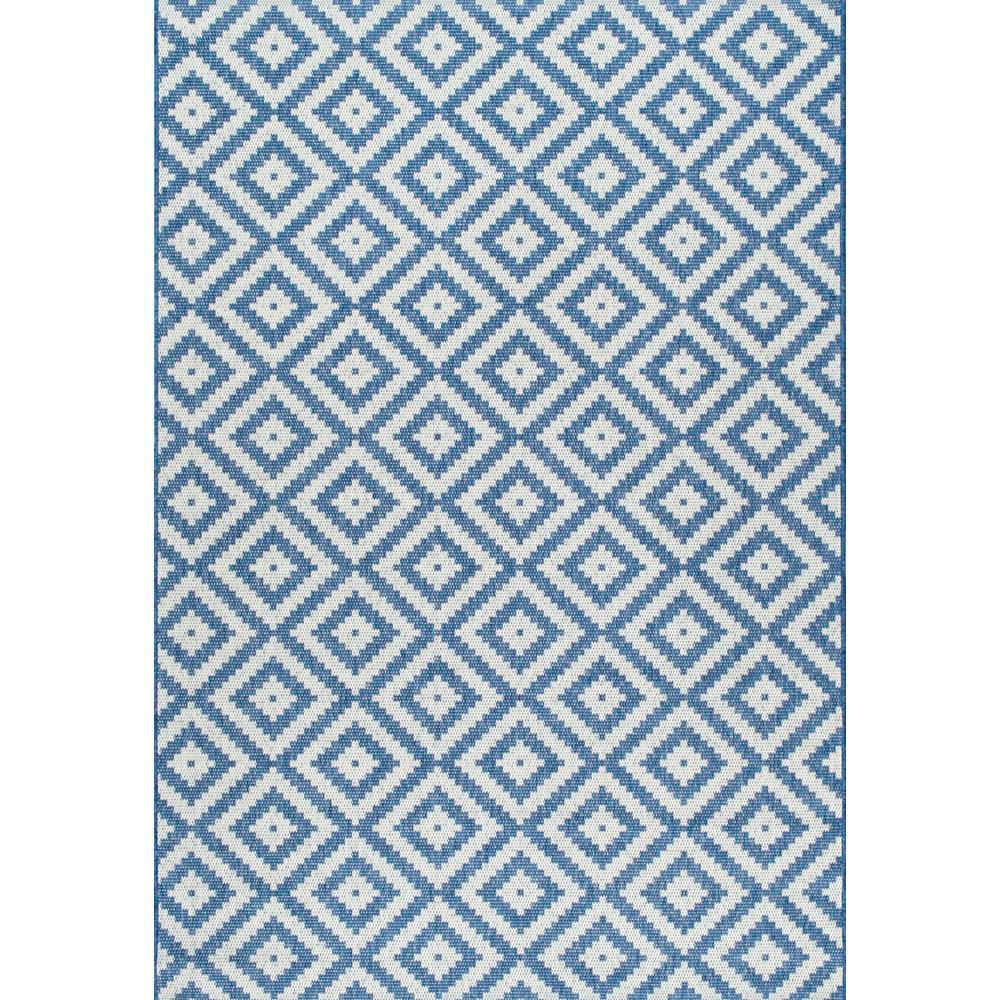 Diamond Trellis Rug Blue Outdoor 5 Ft