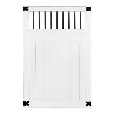 Pro Series 4 ft. W x 6 ft. H White Vinyl Woodbridge Baluster Top Privacy Fence Gate