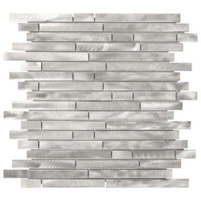 Mystical Light Grey 12 in. x 12 in. x 8 mm Interlocking Brushed Aluminum Mosaic Tile
