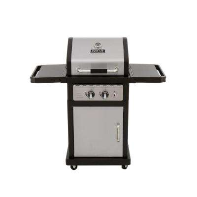 Smart Space Living 2-Burner Propane Gas Grill in Stainless Steel and Black