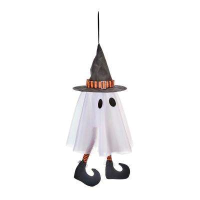 10 in. x 24 in. Halloween Hanging Ghost with Kicking Legs
