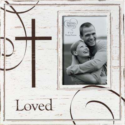 4 in. x 6 in. White & Brown Distressed Wood Loved Picture Frame