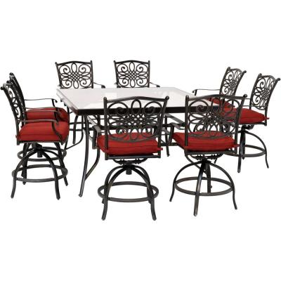 Traditions 9-Piece Aluminum Outdoor Dining Set with Red Cushions, 8-Swivel Chairs and a 60 in. Square Glass-Top Table