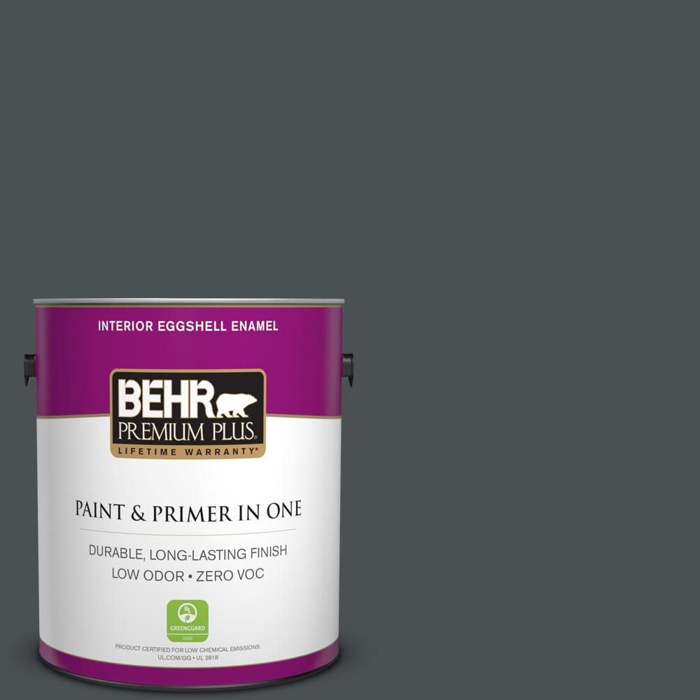 1 gal. #PPU26-01 Satin Black Zero VOC Eggshell Enamel Interior Paint