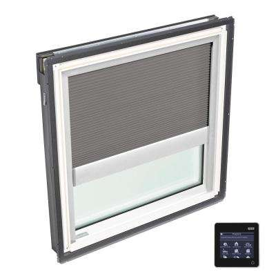 44-1/4 in. x 45-3/4 in. Fixed Deck-Mount Skylight with Tempered Low-E3 Glass and Grey Solar Powered Room Darkening Blind