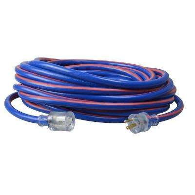 50 ft. 10/3-Gauge Neon Stripe Outdoor Extension Cord with Lighted Ends, Blue/Red