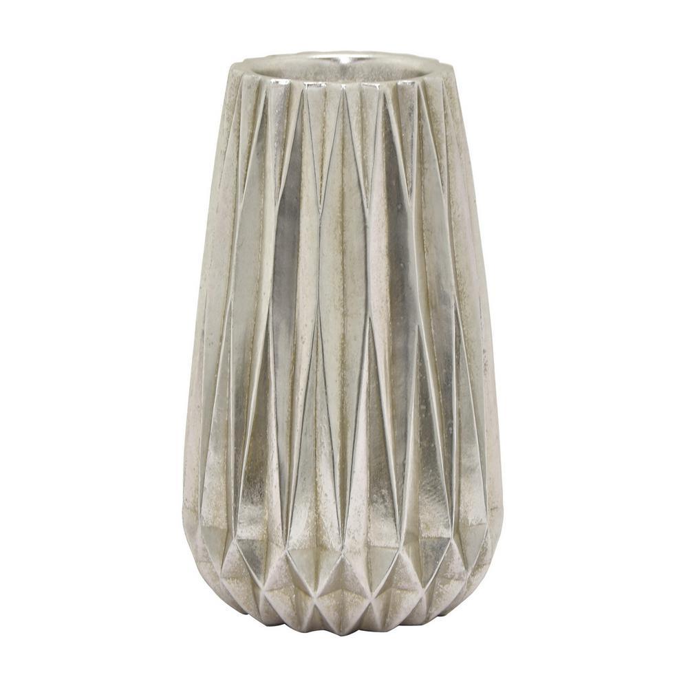16 in. Resin Silver Vase