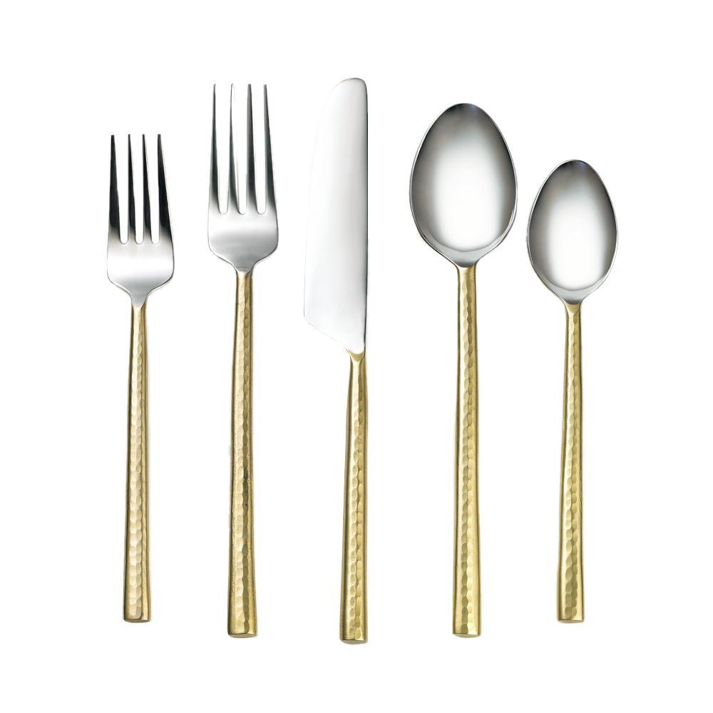 Priya Hammered Brass 18/8 20-Piece Flatware Set