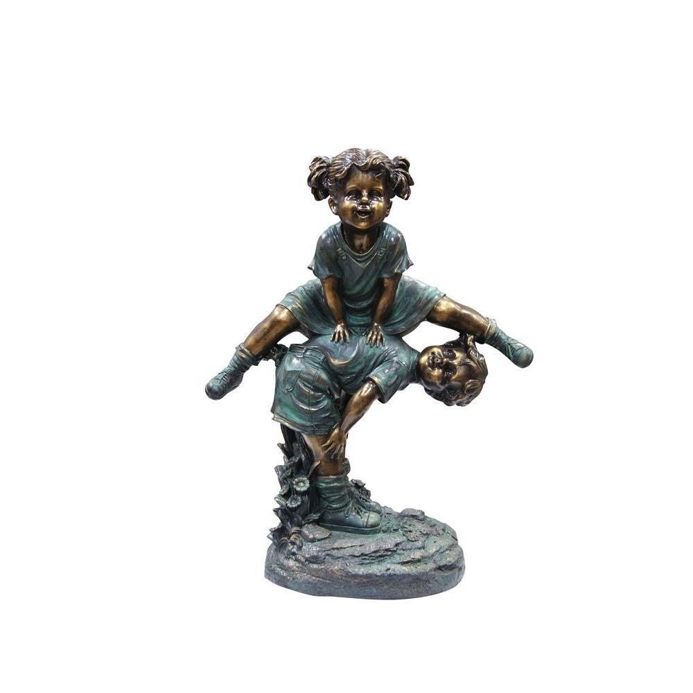 Alpine Girl Jumping Over Boy Statue