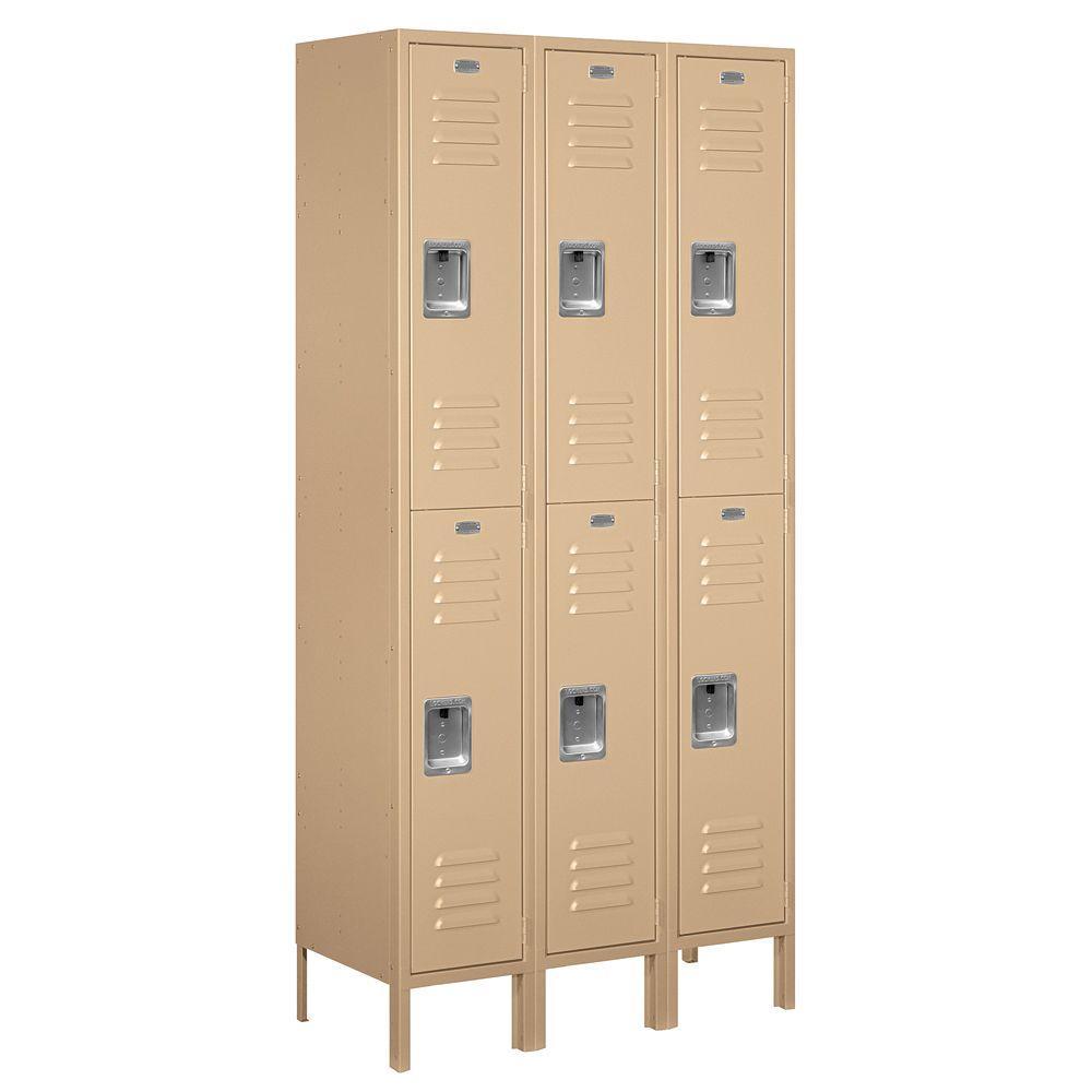 62000 Series 36 in. W x 78 in. H x 15 in. D 2-Tier Metal Locker Assembled in Tan
