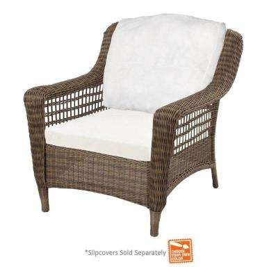 Spring Haven Grey Wicker Patio Chair with Cushion Insert (Slipcovers Sold Separately)