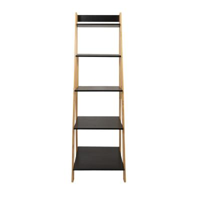 62.2 in. Natural/Black Wood 5-shelf Ladder Bookcase with Open Back