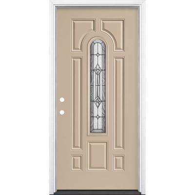 36 in. x 80 in. Providence Center Arch Canyon View Right-Hand Painted Steel Prehung Front Exterior Door w/ Brickmold