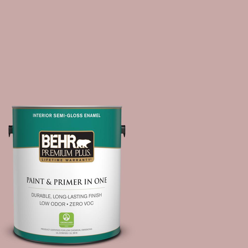 1-gal. #140E-3 Rose Bisque Zero VOC Semi-Gloss Enamel Interior Paint