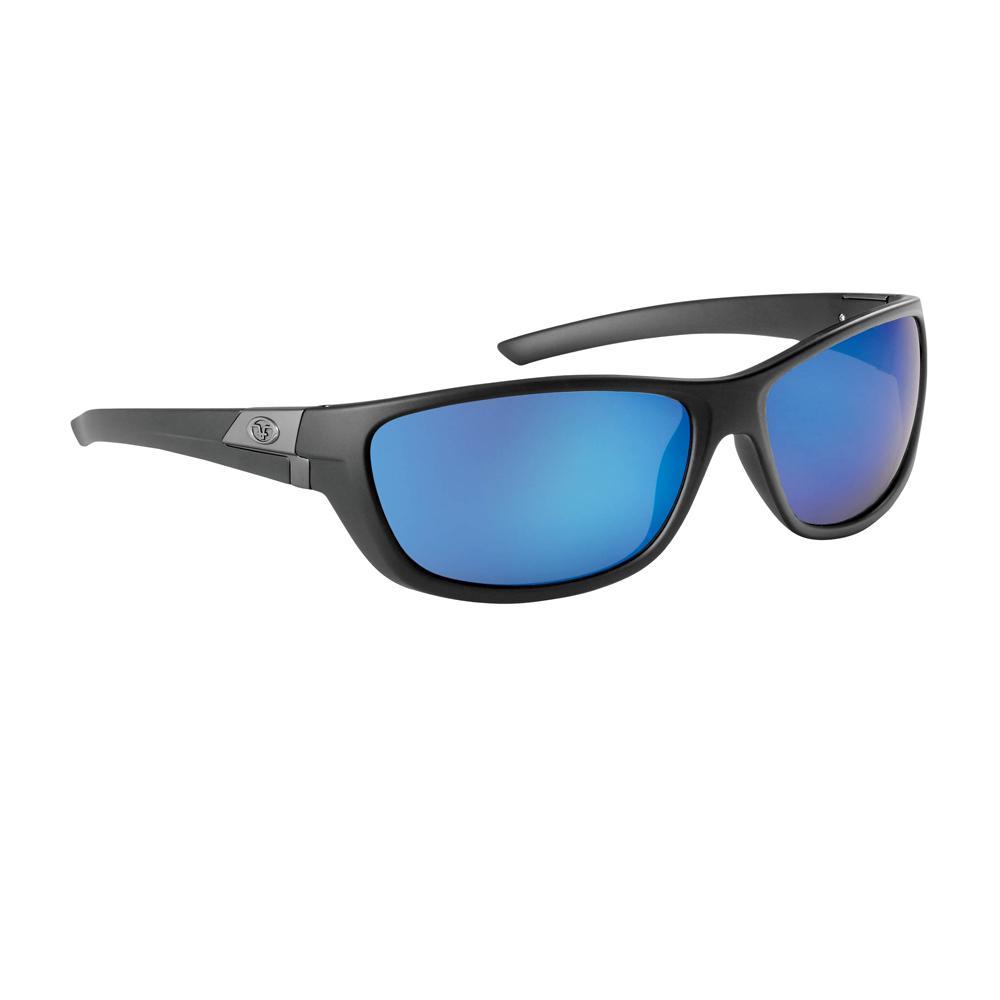 15cf061b4d6f Flying Fisherman Bahia Polarized Sunglasses Matte Black Frame with Smoke  Blue Mirror Lens