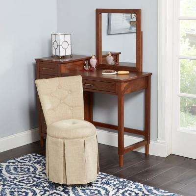 Smith Beige Skirted Swivel Vanity Chair with Diamond Tufted Back