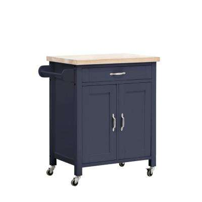 Alberta Navy Body with Wood Top Kitchen Cart with 2 Cabinets and 1 Drawer