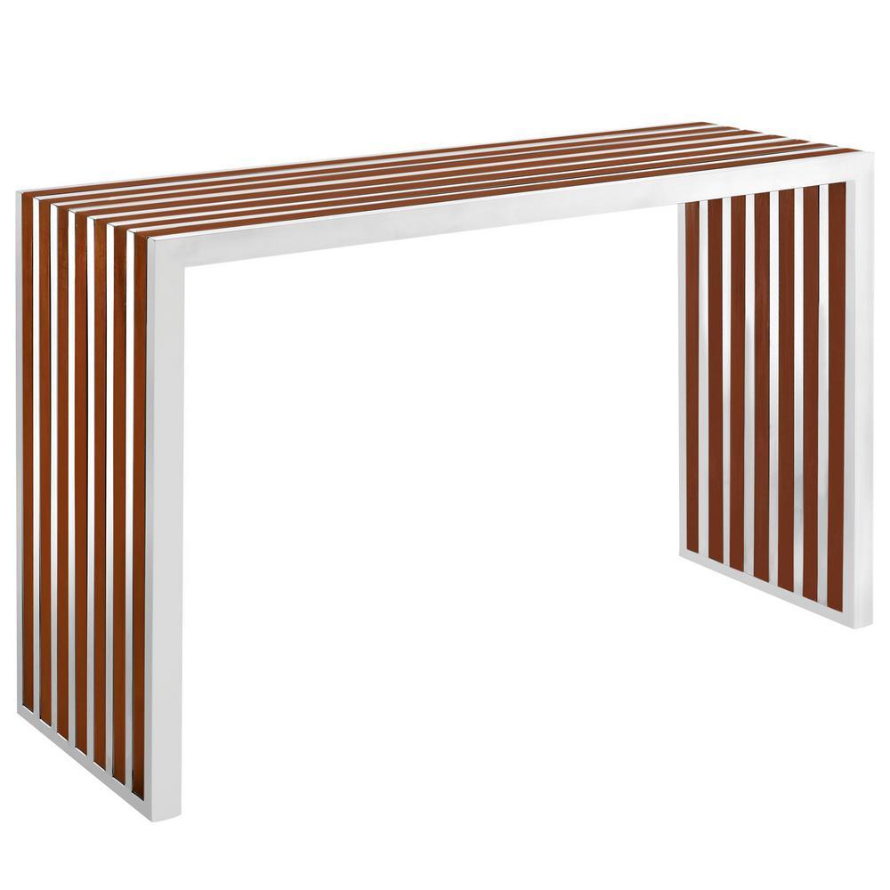 MODWAY Walnut Gridiron Wood Inlay Console Table