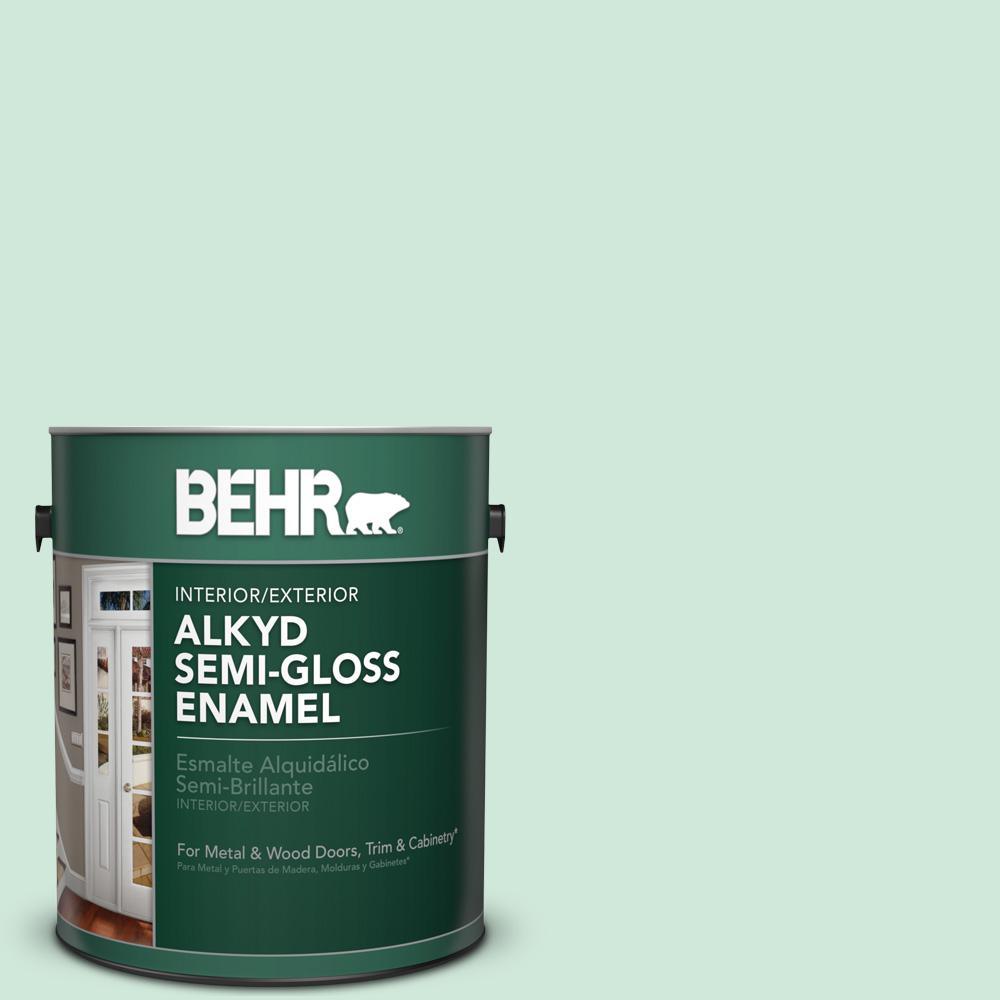 1 gal. #M420-2 Green Aqua Semi-Gloss Enamel Alkyd Interior/Exterior Paint
