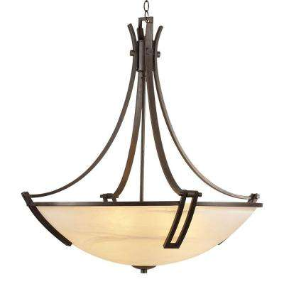 6-Light Oil-Rubbed Bronze Chandelier with Marbleized Glass Shade