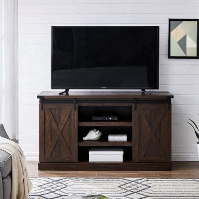 Ogden 54 in. Brown Rectangle Wash MDF TV Stand 60 in. with Doors