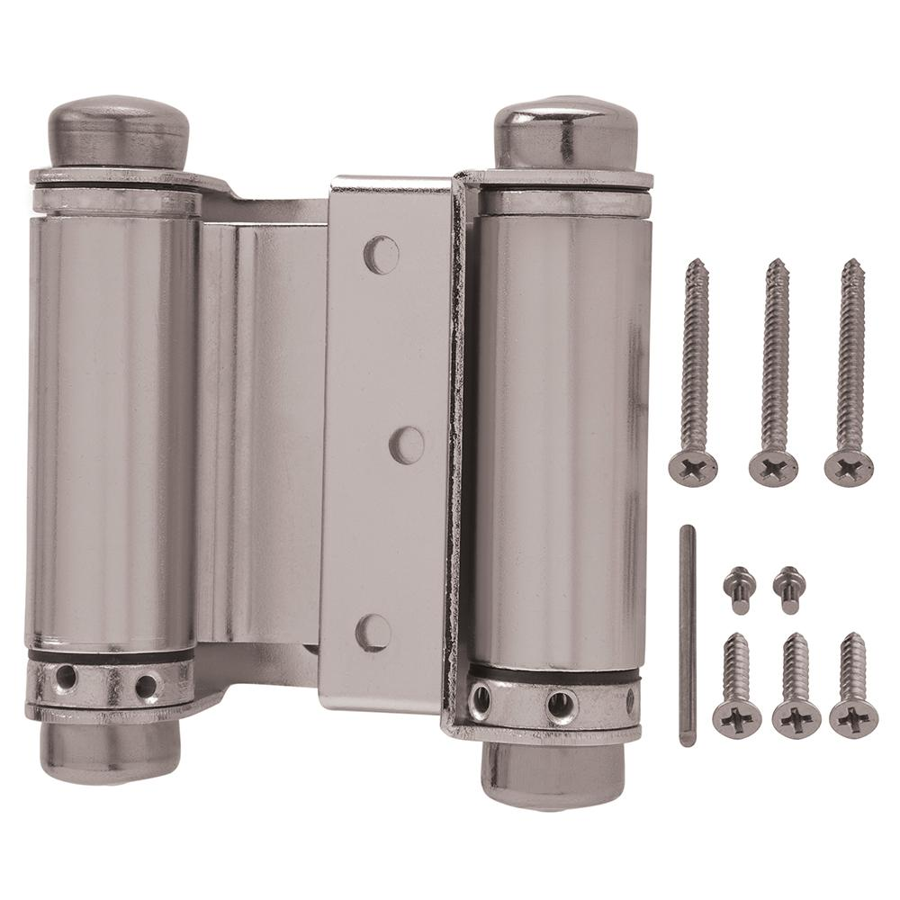 Everbilt 3 in. x 3 in. Satin Nickel Double-Action Spring Door Hinge on commercial double swing front doors, commercial swing door open right, commercial glass door freezers, commercial door swing through,