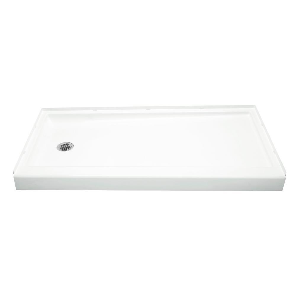 Ensemble 30 in. x 60 in. Single Threshold Left-Hand Shower Base in White