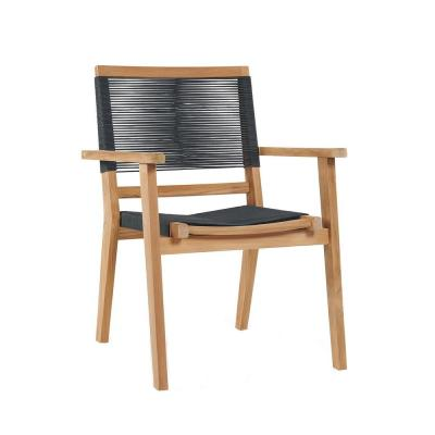 Oslo Stacking Teak Outdoor Dining Armchair in Charcoal Gray (Set of 2)