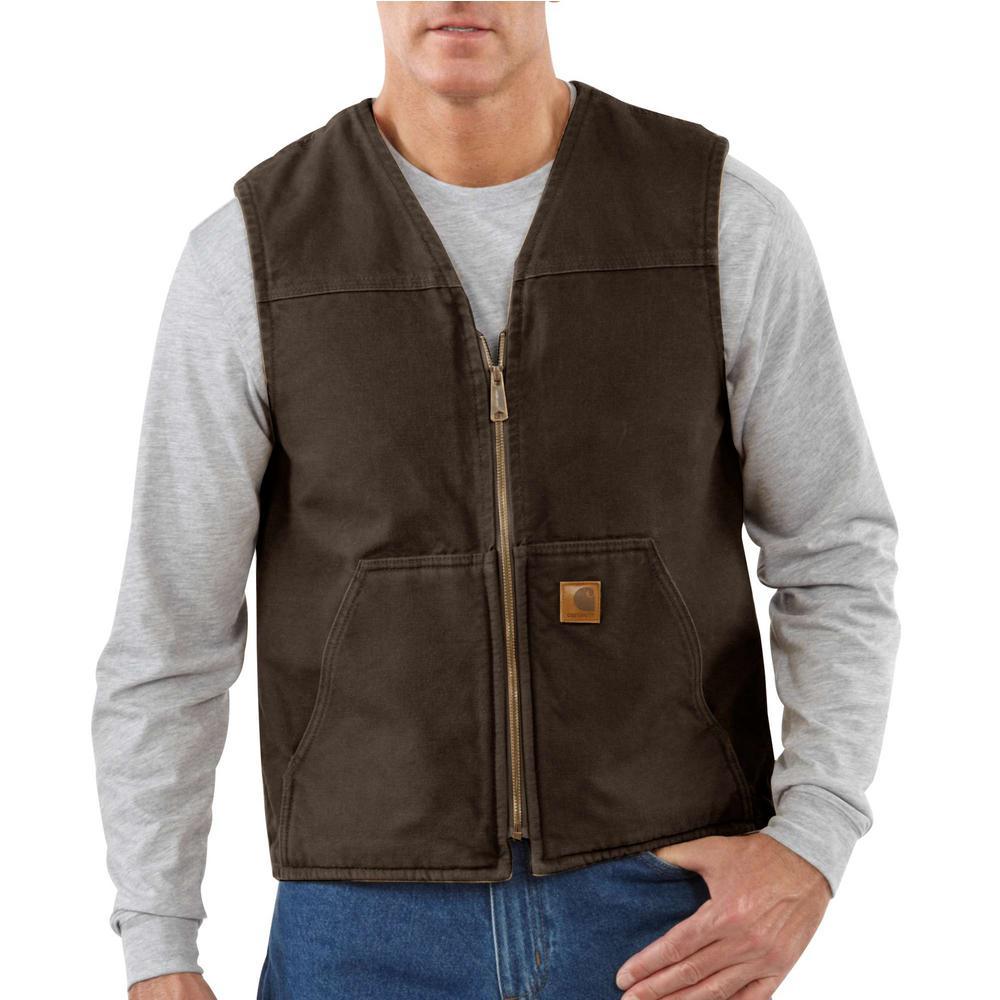 Men's Large Dark Brown Cotton Rugged Vest Sherpa Lined Sandstone