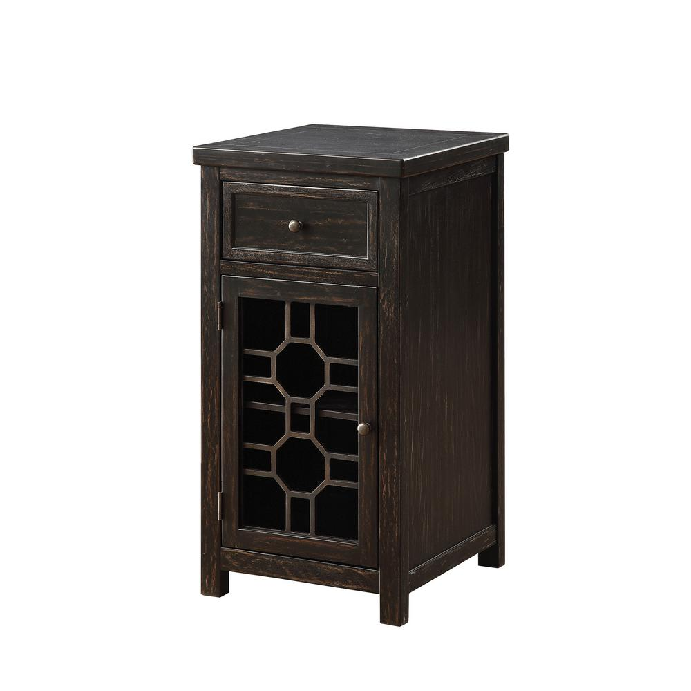 Williams Import Killeen Black Side Table With Drawer And Glassless