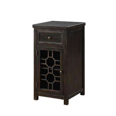 Killeen Black Side Table with Drawer and Glassless Decorative Cabinet Door