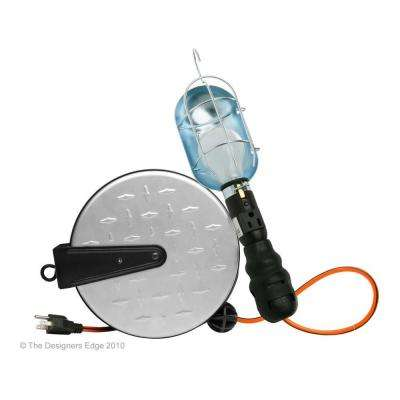 25 ft. 14 /3 Retractable Metal Cord Reel with Work Light