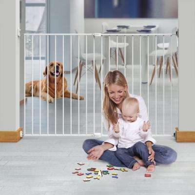 36 in. H Super Wide Extending Metal Baby Gate with Locking Indicator, White