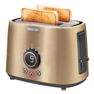 800-Watts 2 Slice Champagne Long Slot Toaster with Rack